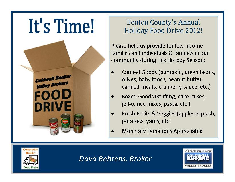 Benton County's Annual  Holiday Food Drive 2012!