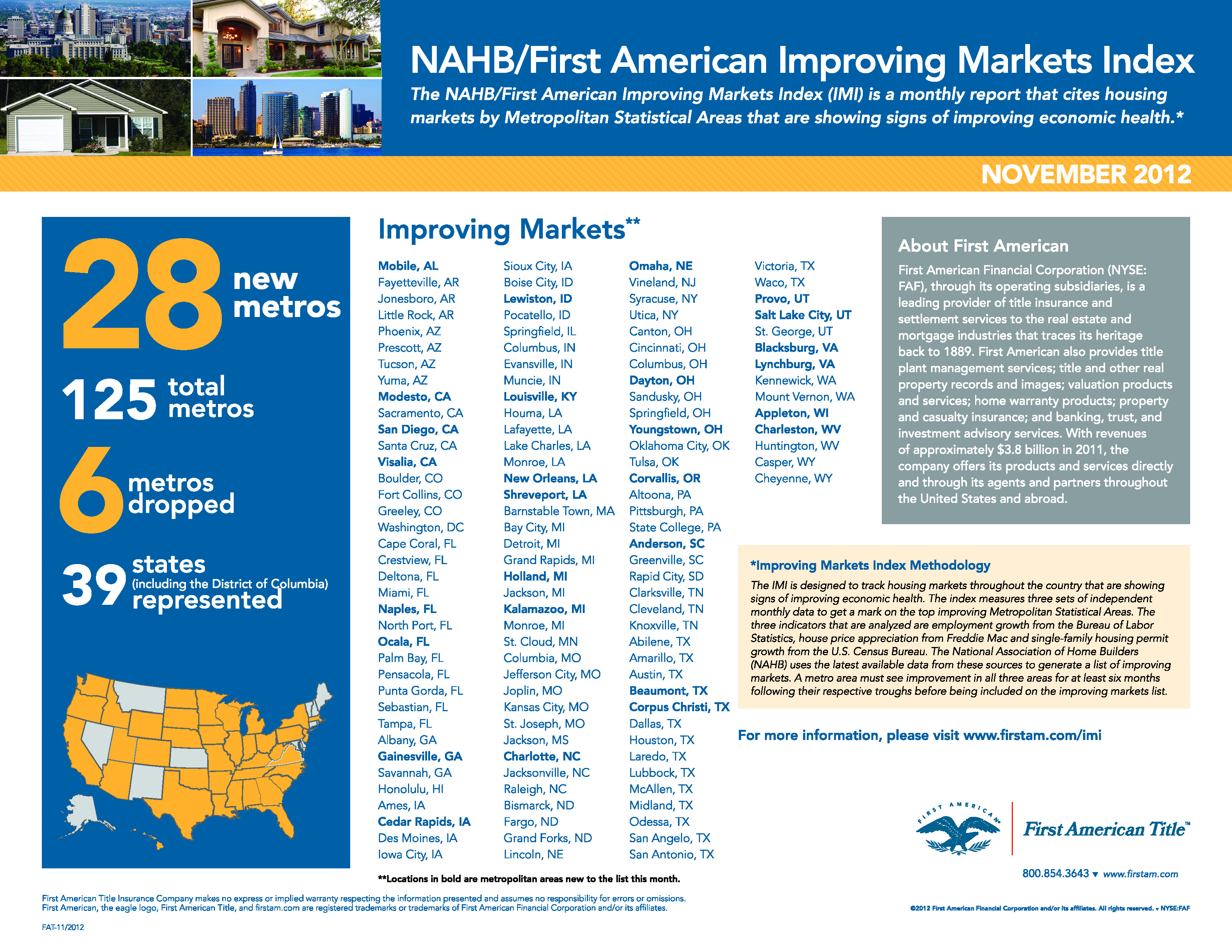 NAHB and First American's Improving Markets Index (November 2012)