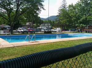 The pool at the Rec Field where we took swimming lessons and spent long afternoons. Much smaller than I remembered.